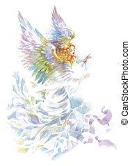 Beautiful angel with wings watercolor illustration.