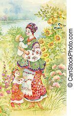 Woman in folk costume with children. Ethnic Watercolor...
