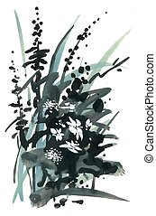 Watercolor and ink illustration of blossoming flowers.
