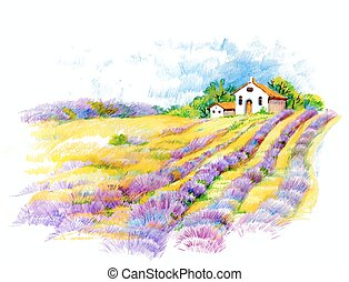Watercolor rural house in green summer day illustration. -...
