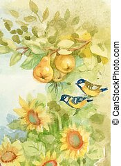 Watercolor sunflowers and pears in orchard with titmouse...