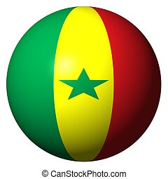 Senegal flag sphere isolated on white illustration