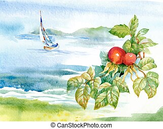 Beautiful watercolor summer river landscape.