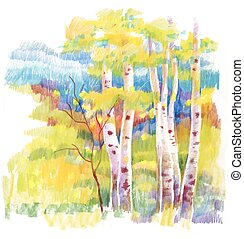 Autumn forest felt-tip pen illustration. - Autumn forest...