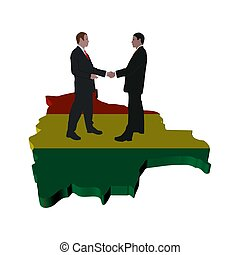 Business people shaking hands on Bolivia map flag...