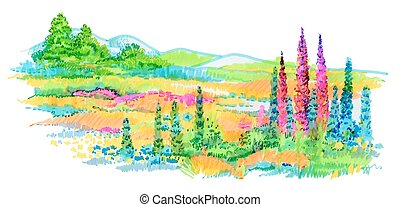 Hand drawn flowers and trees on meadow. - Hand drawn flowers...