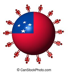 circle of abstract people around Samao flag sphere illustration