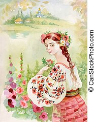 Woman in folk costume. Ethnic Watercolor illustration. -...