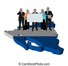business team with sign on Nicaragua map flag illustration