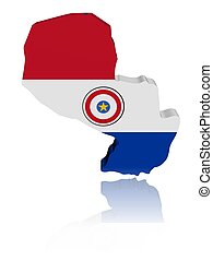 Paraguay map flag 3d render with reflection illustration