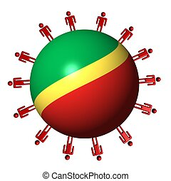 circle of abstract people around Republic of Congo flag sphere illustration