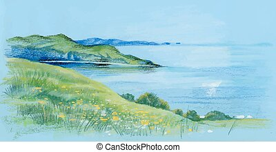 Watercolor river natural landscape
