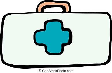 primero, ayuda, Kit, caja, icono, aislado, en, blanco, Plano...