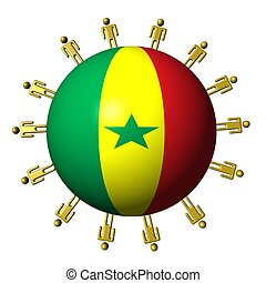 circle of abstract people around Senegal flag sphere...