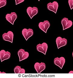 Pink love hearts on black seamless pattern