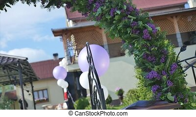 Party flowers and baloons decoration.