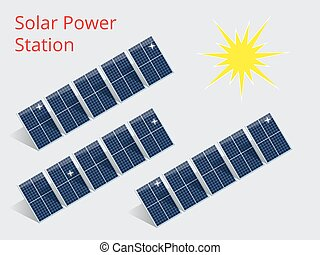 Isometric illustration of a solar power station - Vector...