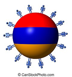 circle of abstract people around Armenia flag sphere illustration