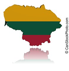 Lithuania map flag 3d render with reflection illustration