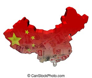 China Map flag with Yuan notes 3d render illustration