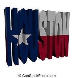 Houston 3d text with Texan flag on white illustration