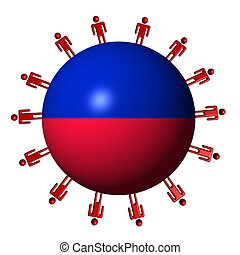 circle of abstract people around Haitian flag sphere illustration
