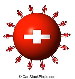 circle of abstract people around Swiss flag sphere illustration