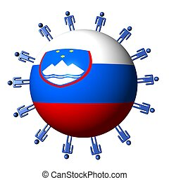 circle of abstract people around Slovenian flag sphere illustration