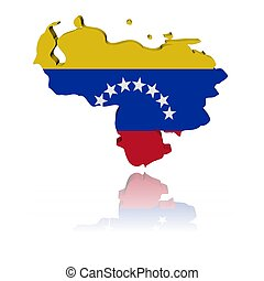 Venezuela map flag 3d render with reflection illustration