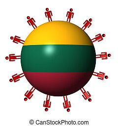 circle of abstract people around Lithuania flag sphere illustration