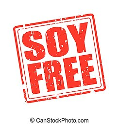 SOY FREE red stamp text on white