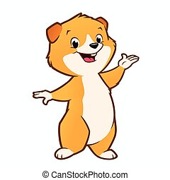 Cartoon Guinea Pig - Vector illustration of a cute guinea...