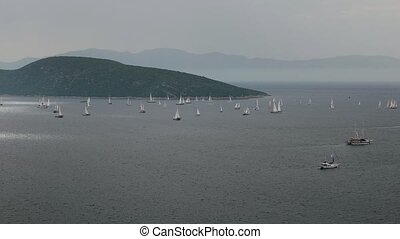 Boats sailing in a cloudy stormy day. Bodrum Cup 2015...