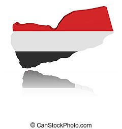 Yemen map flag 3d render with reflection illustration