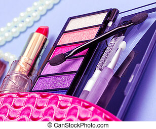 Makeup Kit Indicates Beauty Products And Brushes