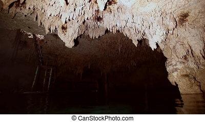 Underwater stalagmites in Mexican cenote. - Underwater...