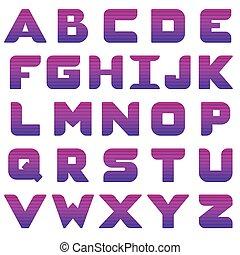 Alphabet with purple gradient