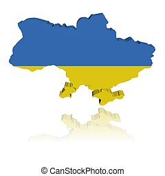 Ukraine map flag 3d render with reflection illustration
