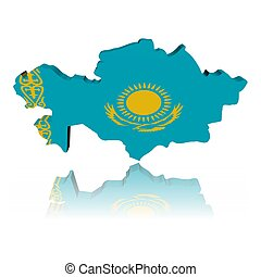 Kazakhstan map flag 3d render with reflection illustration