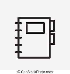 notebook with lable icon of brown outline for illustration