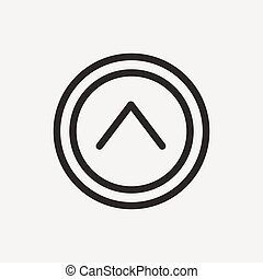 up arrow icon of brown outline for illustration