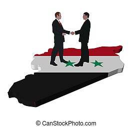 Business people shaking hands on Syria map flag illustration