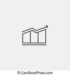 Growing graph icon of grey outline for webpage