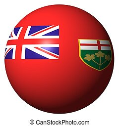 Ontario flag sphere isolated on white illustration