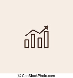 Growing graph icon of brown outline for webpage