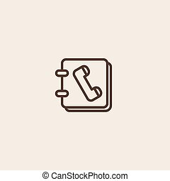 telephone directory icon of brown outline for webpage