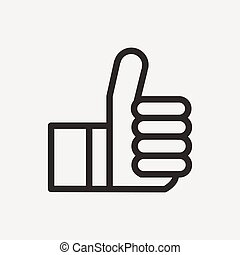 thumbs up icon of brown outline for illustration
