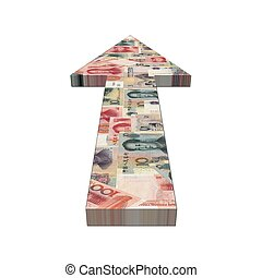 Chinese Yuan arrow illustration - Chinese Yuan arrow on...
