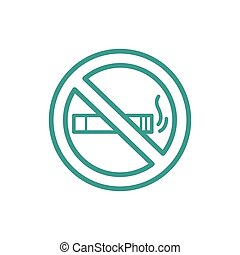No smoking icon sign thin line icon isolated on beige...