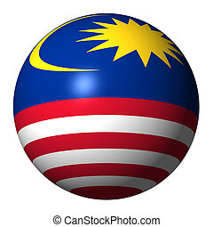 Malaysia flag sphere isolated on white illustration